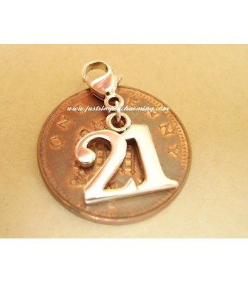 Sterling Silver 21 Clip-On Charm