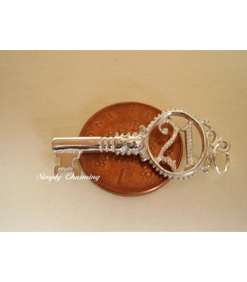 Sterling Silver Charms - 21 Key charm or Pendant