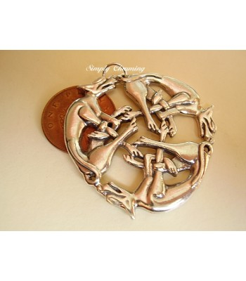 Celtic Three Dogs Intertwined Sterling Silver pendant