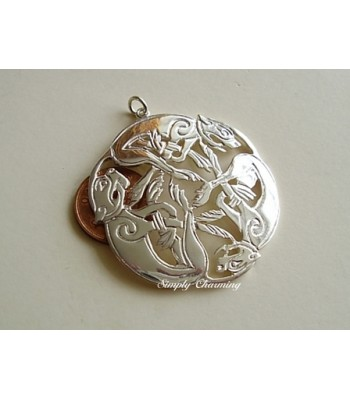 Large Celtic Three Dogs Sterling Silver Pendant