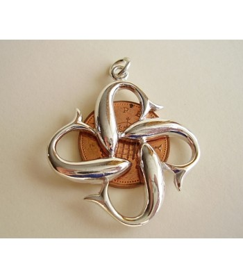 Four Dolphins,Love,Peace,friendship Sterling Silver Pendant
