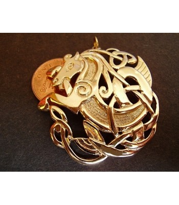 Solid 9ct Gold Celtic Horse Pendant