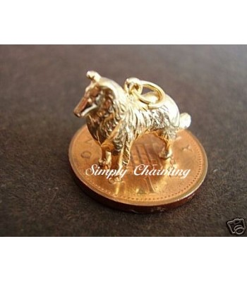 Collie Dog 14ct Gold Charm
