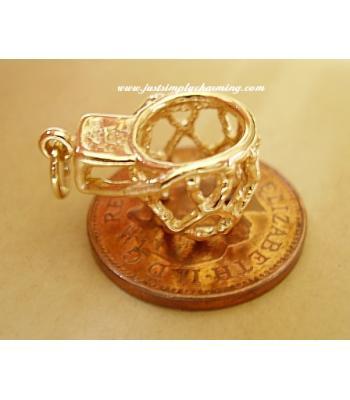 Netball Hoop 9ct Gold Charm