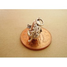 Sterling Silver Charms - Acorn Opening to Squirrel Charm