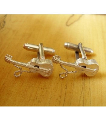 Sterling Silver Acoustic Guitar Cufflinks
