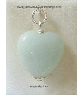 Genuine Amazonite Heart Sterling Silver Charm