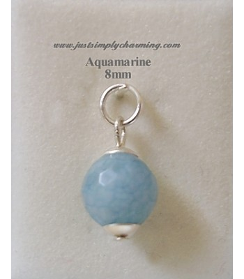 8mm Genuine Aquamarine (March) Sterling Silver Charm