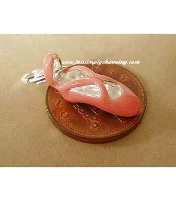 Enamelled Sterling Silver Ballet Shoes Clip-On Charm
