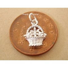 Miniature Flower Basket Silver Charm