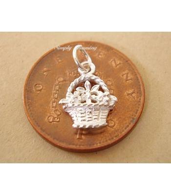 Miniature Flower Basket Silver Charm
