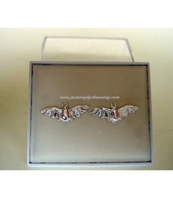 Sterling Silver Bat Stud Earrings