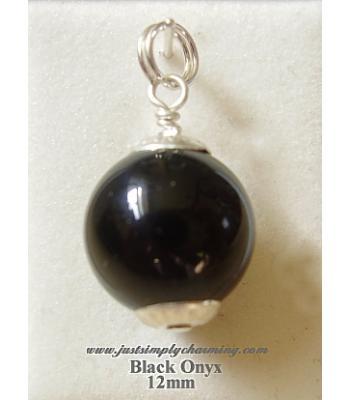 12mm Genuine Black Onyx Sterling Silver Charm
