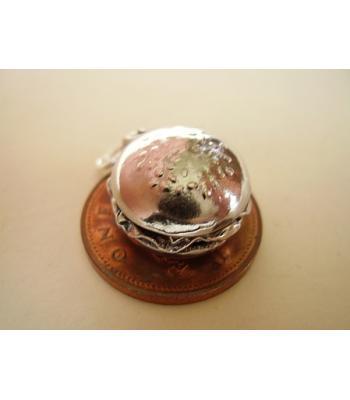 Sterling Silver Charms - Beefburger Hamburger Bun Opening Charm