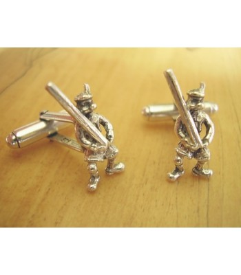 Sterling Silver Scotsman Tossing The Caber Cufflinks