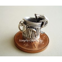Cat in Garbage Bin Moving Sterling Silver Charms