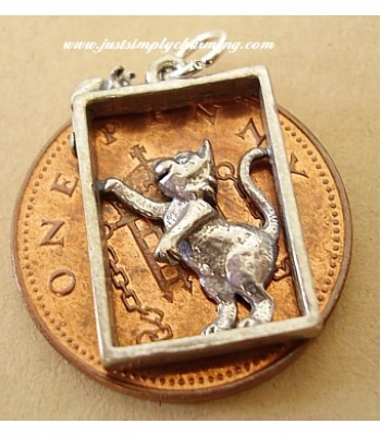 Cat & Mouse in Window Sterling Silver Charms