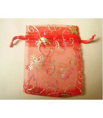 Red Christmas Organza Bag With Drawstring