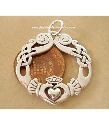 Claddagh Sterling Silver Celtic Pendant