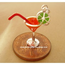 Enamelled Sterling Silver Cocktail Glass Clip-On Charm