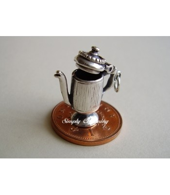 Coffee Pot Opening Sterling Silver Charm