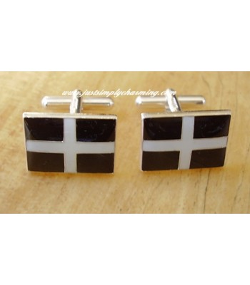 Enamelled Cornish - St Pirans Flag Sterling Silver Cufflinks