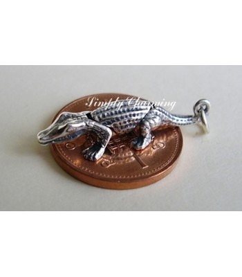 Crocodile Three Part Moving Sterling Silver Charm