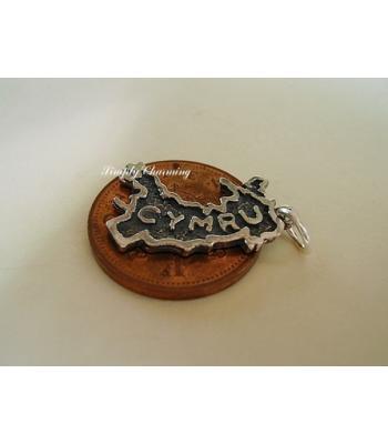 Map of Wales Cymru Sterling Silver Charm