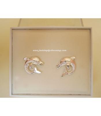 Sterling Silver Dolphin Stud Earrings