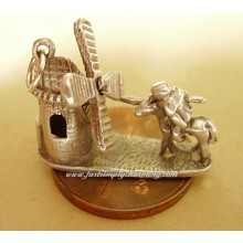 Don Quixote Tilting Windmills Sterling Silver Charm