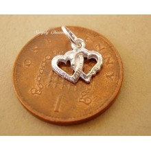 Miniature Double Heart Silver Charm