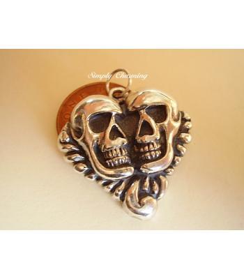 Double Skull Sterling Silver Pendant