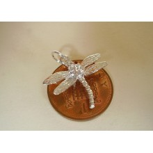 Dragonfly Sterling Silver Charm with Real Cubic Zirconia