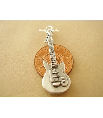 Electric Guitar Sterling Silver Charm