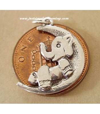 Elephant On Moon Sterling Silver Charms