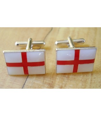 Enamelled England St George Cross Flag Sterling Silver Cufflinks