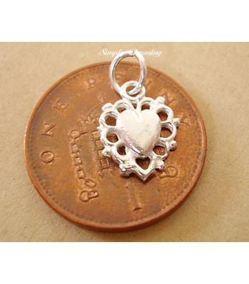 Miniature Filligree Heart Silver Charm