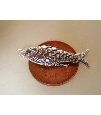 Fish Fully 3D Sterling Silver Charm