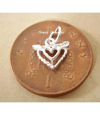Miniature Flying Heart Silver Charm