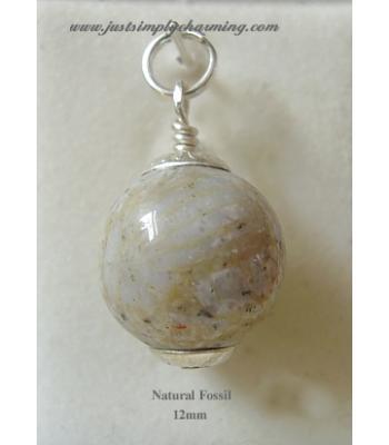 12mm Semi Precious Natural Fossil Sterling Silver Charm