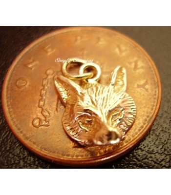 Miniature Fox Head 9ct Gold Charm