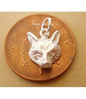 Miniature Fox Head Silver Charm