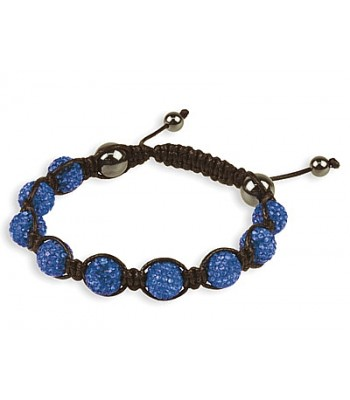 Blue Coloured Shamballa Style Crystal Hematite Bracelet