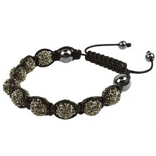 Graphite Coloured Shamballa Style Crystal Hematite Bracelet