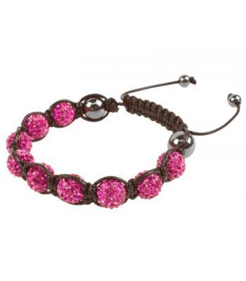 Hot Pink Coloured Shamballa Style Crystal Hematite Bracelet