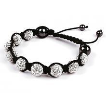White Coloured Shamballa Style Crystal Hematite Bracelet