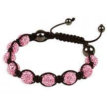 Pink Coloured Shamballa Style Crystal Hematite Bracelet