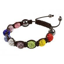 Multi Coloured Shamballa Style Crystal Hematite Bracelet