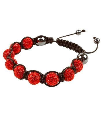 Red Coloured Shaballa Style Crystal Hematite Bracelet
