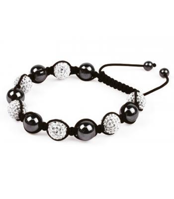White Coloured Shamballa Style Crystal Hematite Fusion Bracelet